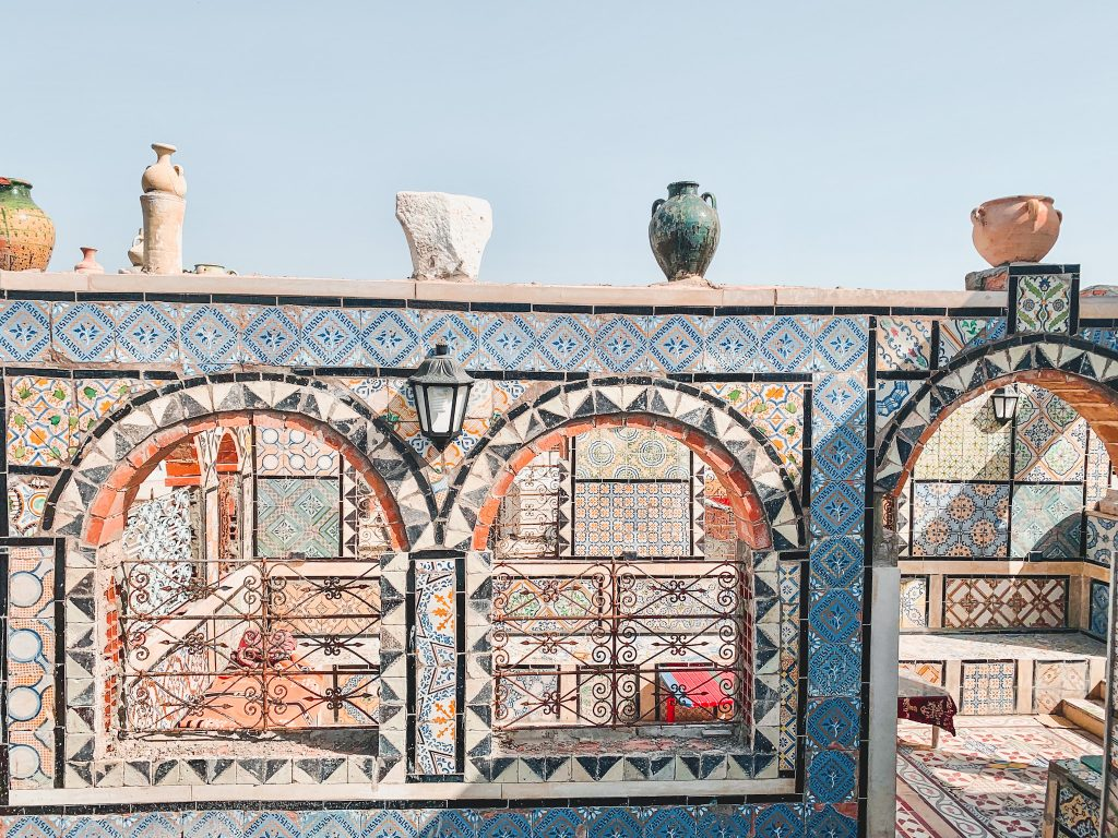 A Rug Store with a view of the Medina of Tunis