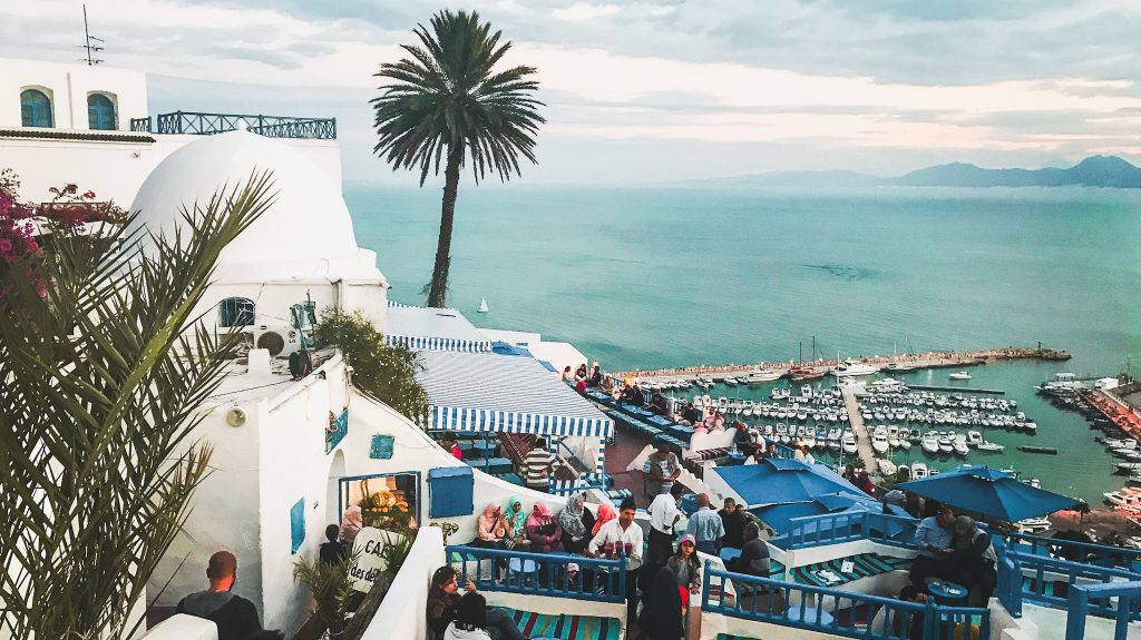 View of Cafe des Delices in Sidi Bou Said